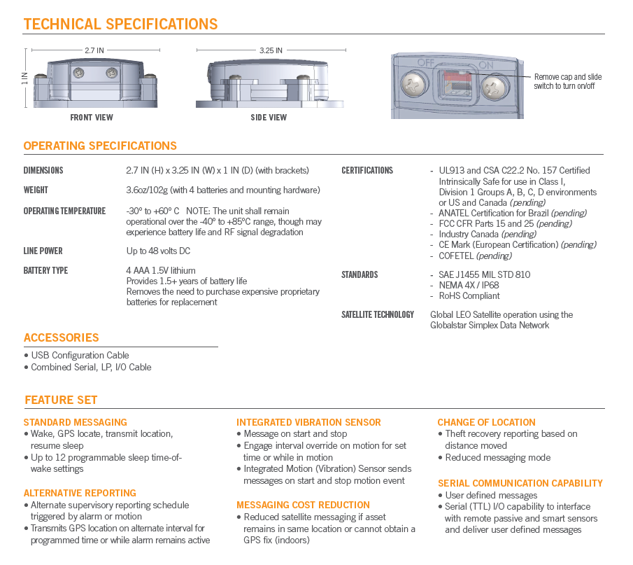 GlobalStar SmartOneC Specifications